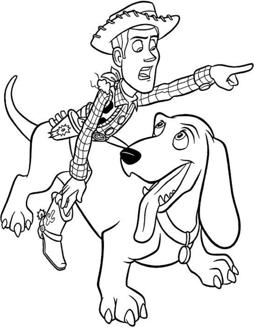Dibujos De Woody Montando Perro Para Colorear Pintar E