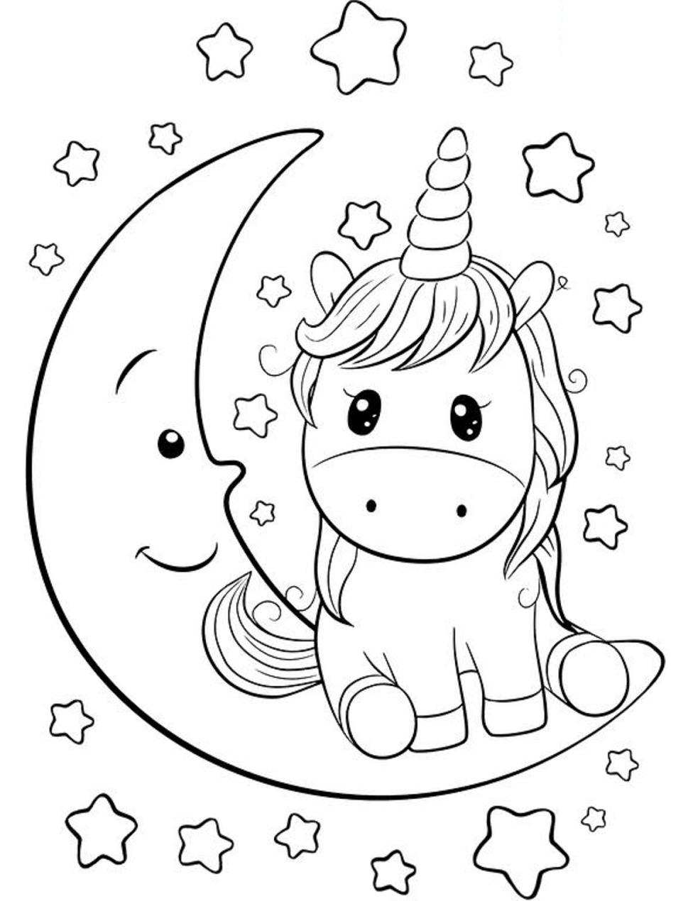 Dibujos De Unicornio En Luna Para Colorear Pintar E