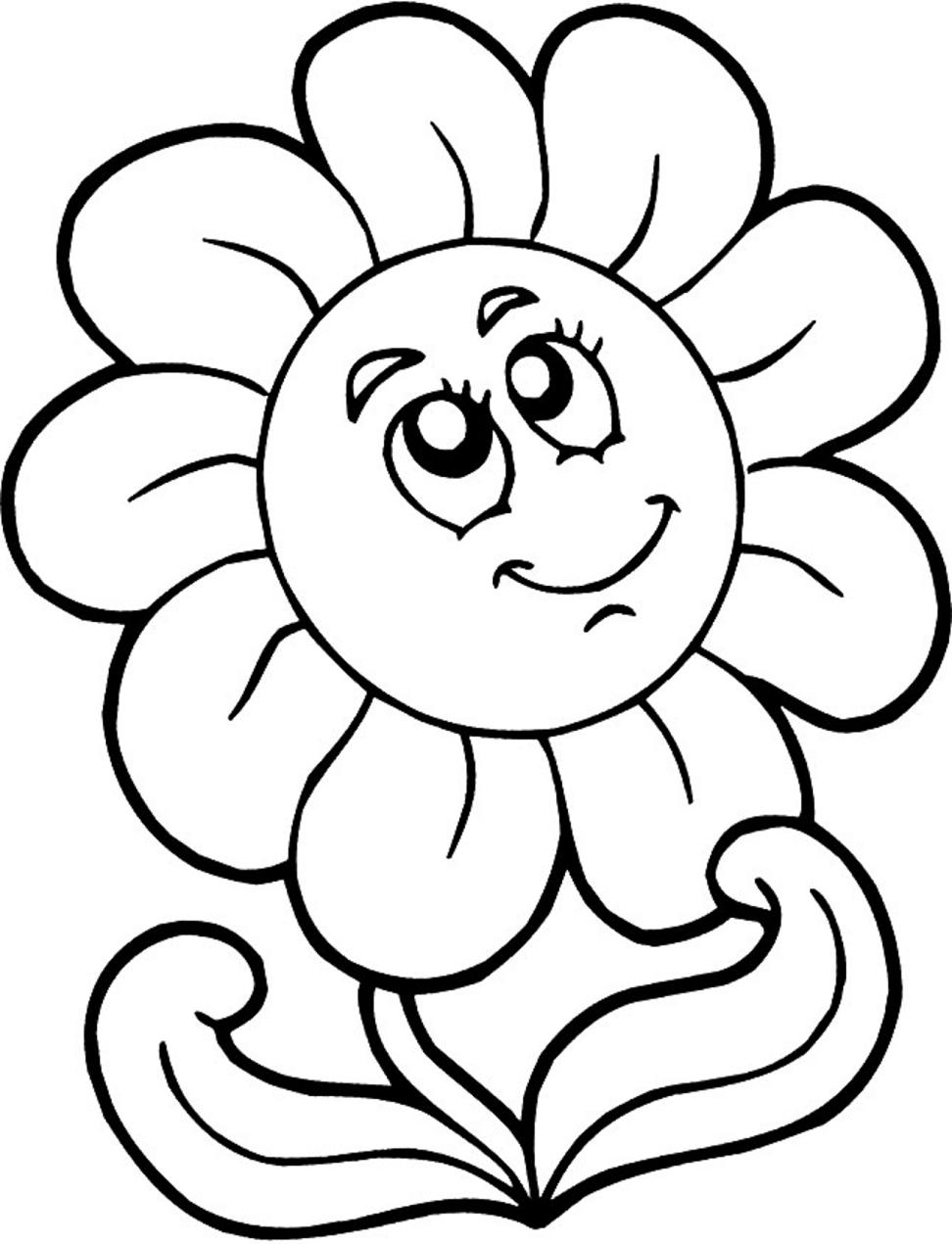 Dibujos De Girasol Está Sonriendo Para Colorear Pintar E