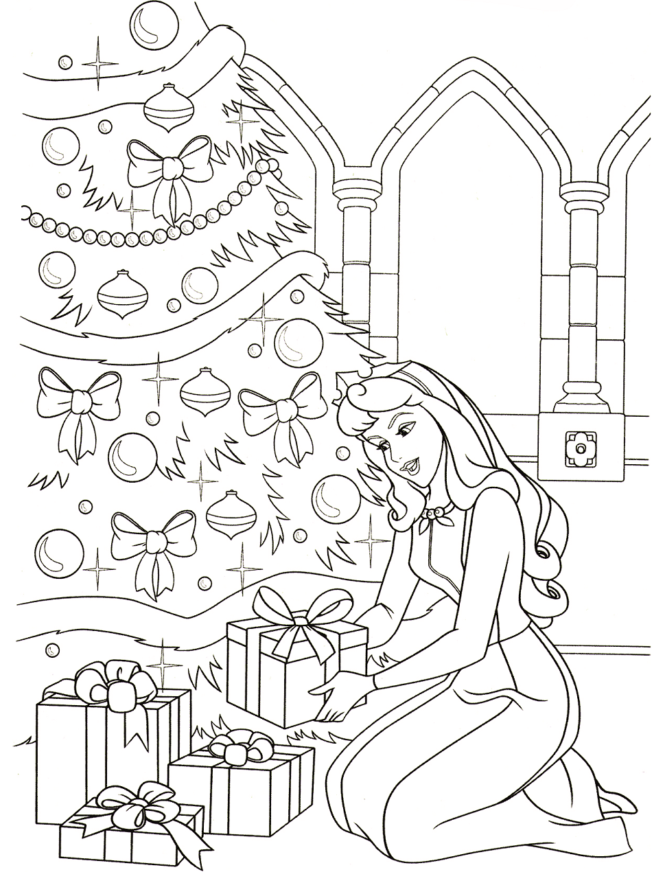Dibujos De Princesa Aurora En Navidad Para Colorear Pintar