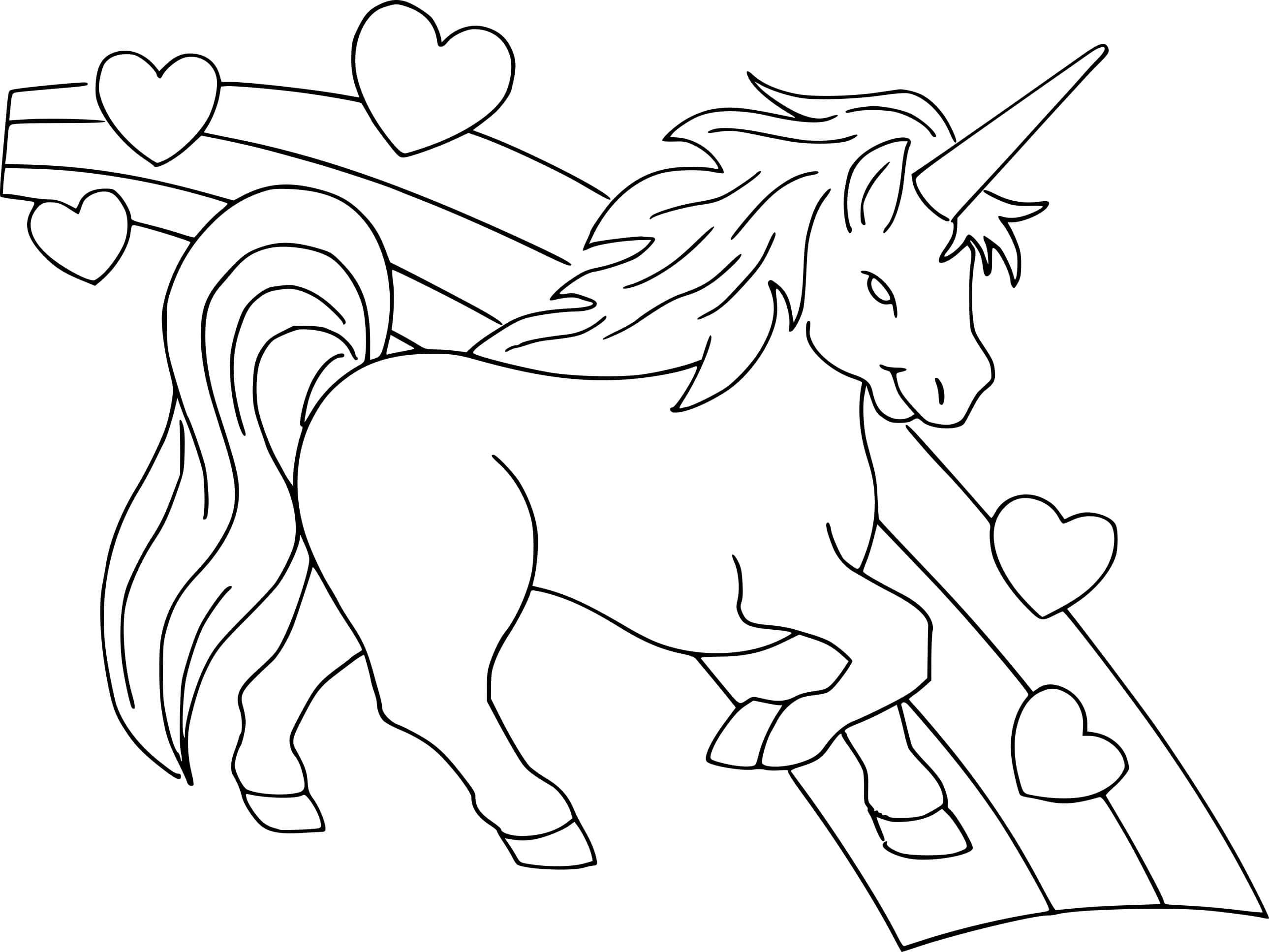 Dibujos De Unicornio Con Corazón Y Arcoiris Para Colorear