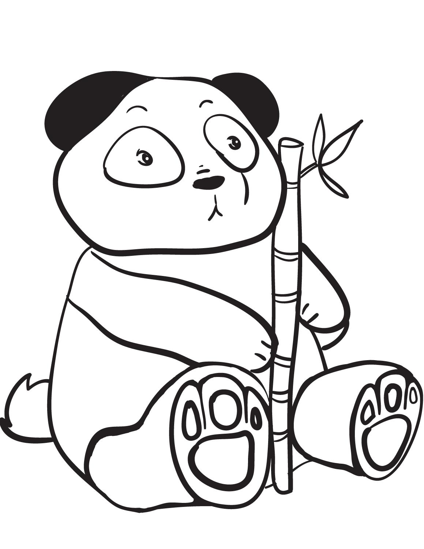 Dibujos De Oso Panda Con Bambú Para Colorear Pintar E